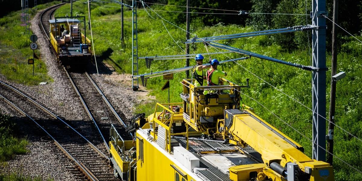 Rovaniemi-Kajaani sähköradan rakennustyöt.