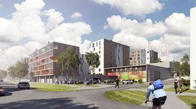 Martinlaakson uusi liikekeskus, näkymä Martinlaaksontieltä.
